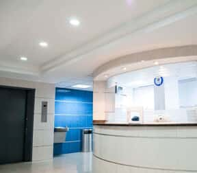 Reception desk in an office building